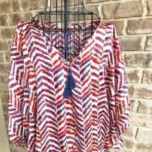 Tops - Hot & Delicious Peasant Top Tassel tie neck Boho